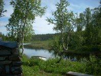 Utenfor hytta vår. Foto: Privat