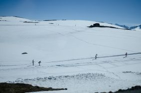 Skiløpere på Sognefjell- i juni! Foto: Marta Øgaard