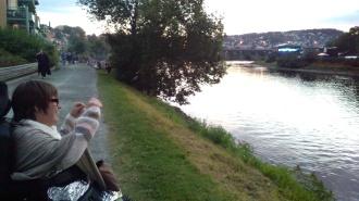 Pstereofestivalen, på andre siden av elva/ The Pstereo festival on the other side of the river